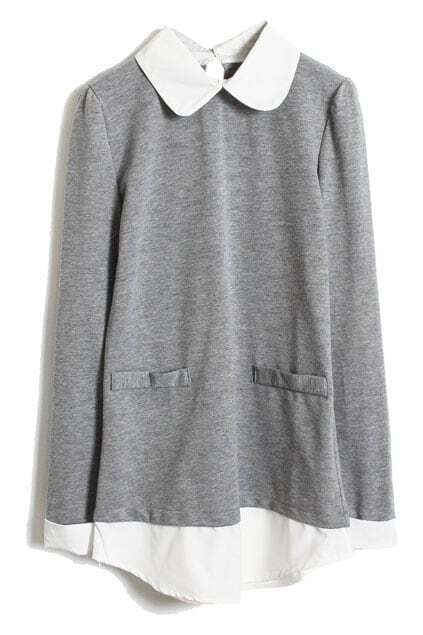 Color Block Fake Two-piece Light-grey Pullover