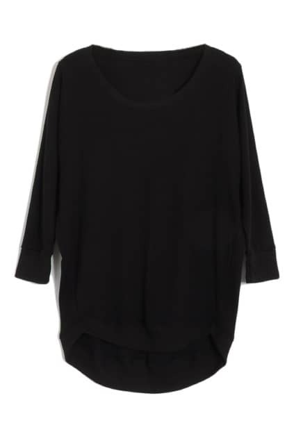 Asymmetric Magyars Scoop Neck Black Pullover