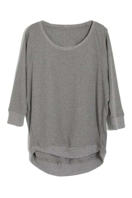 Asymmetric Magyars Scoop Neck Grey Pullover