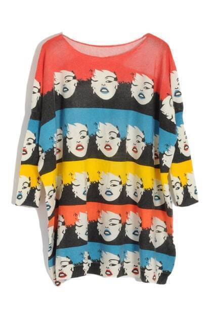Retro Marilyn Monroe Head Printed Pullover