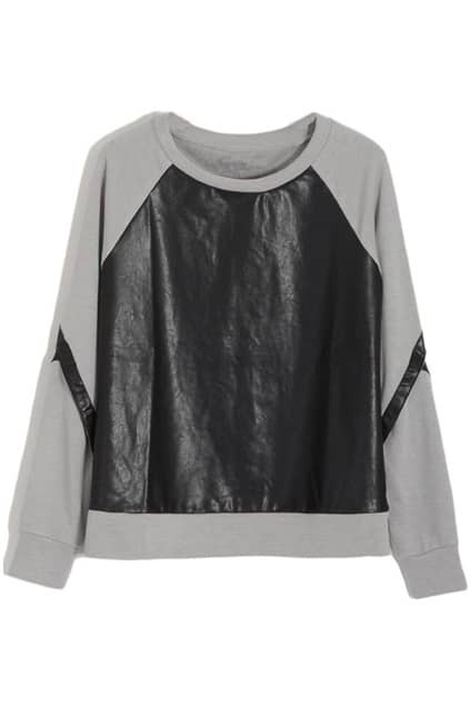 Spliced Vinyl Hollow Grey Pullover
