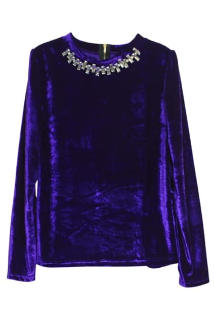 Crystal Golden Collar Purple Velvet T-shirt