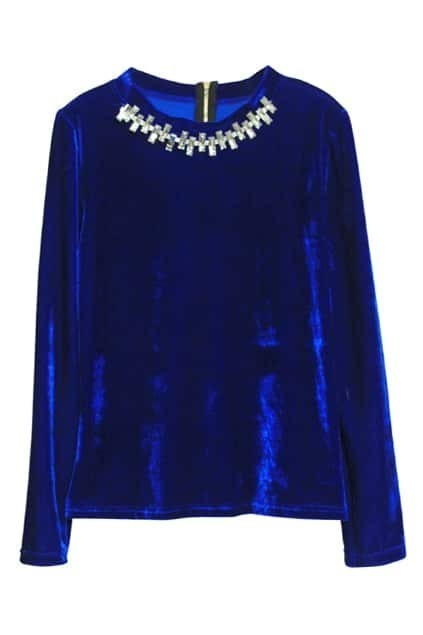 Crystal Golden Collar Blue Velvet T-shirt