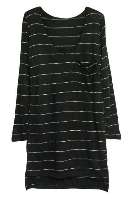 Stripe High Low Tee Black T-shirt