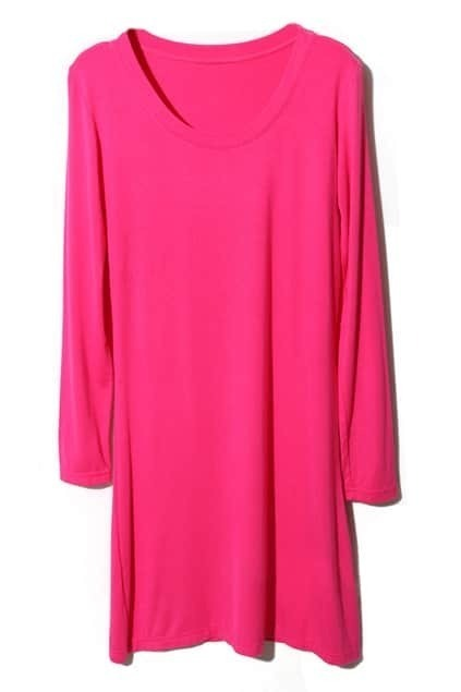 Scoop Neck Longline Rose Pullover
