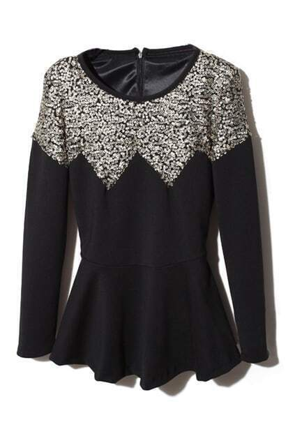 Flouncing Sequins Embellished Black Blouse