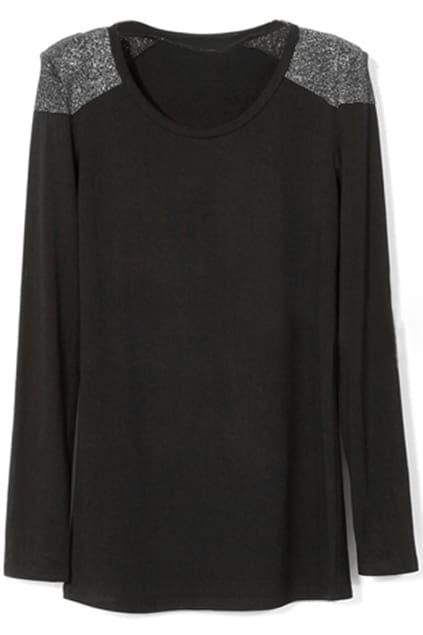 Solid Shiny Silver-silk Embellished Black Pullover
