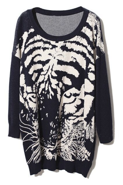Tiger Head Print Dark-blue Pullover