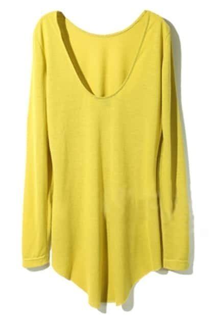 Scoop Neck Backless Mustard Green Pullover