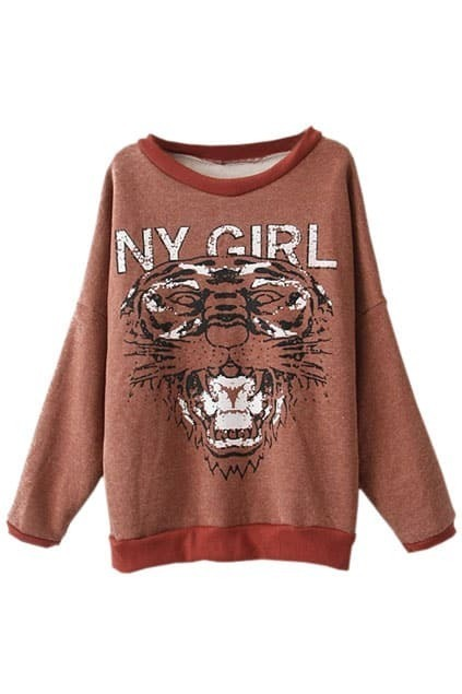 Tiger Face Dolman Brick-red Pullover