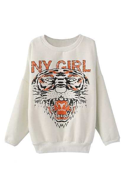 Tiger Face Dolman White Pullover