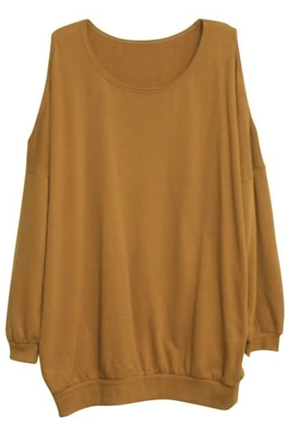 Off Shoulder Khaki Colored Pullover