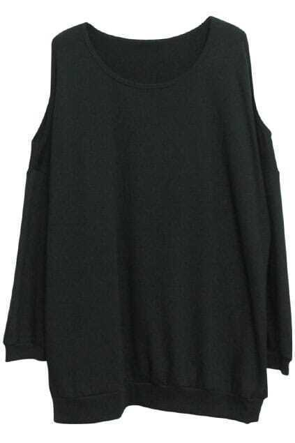 Off Shoulder Black Pullover