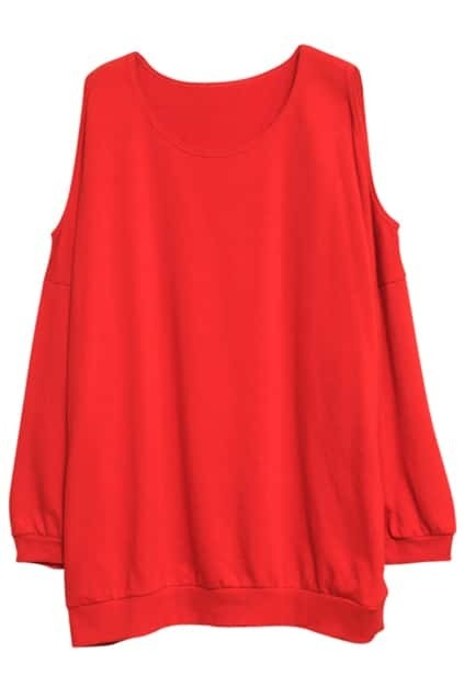 Off Shoulder Red Pullover