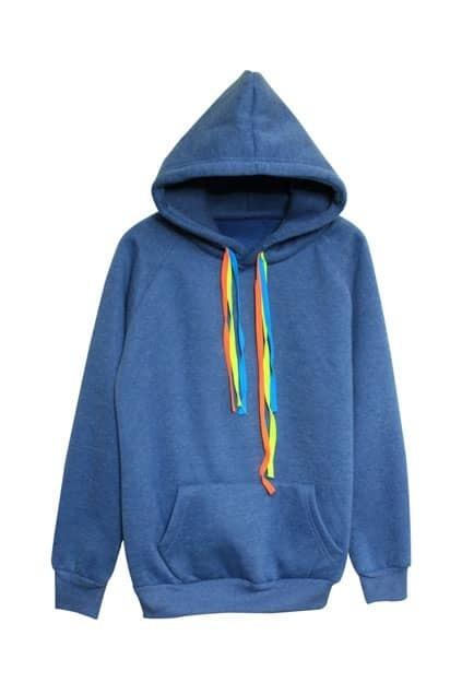 Single Pocket Blue Hoodie