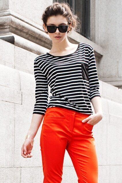 Black Pocket Strips T-shirt