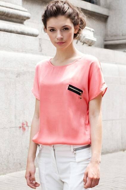 Front Zipper Pink T-shirt