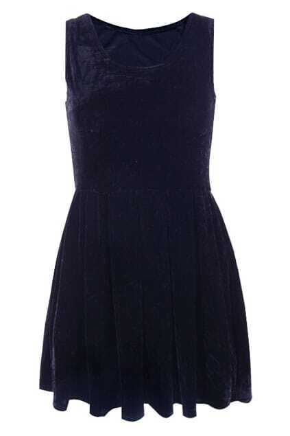 Navy Blue Metallic Vest Dress