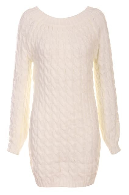 Gentiana Vertical Stripes White Knitted Dress