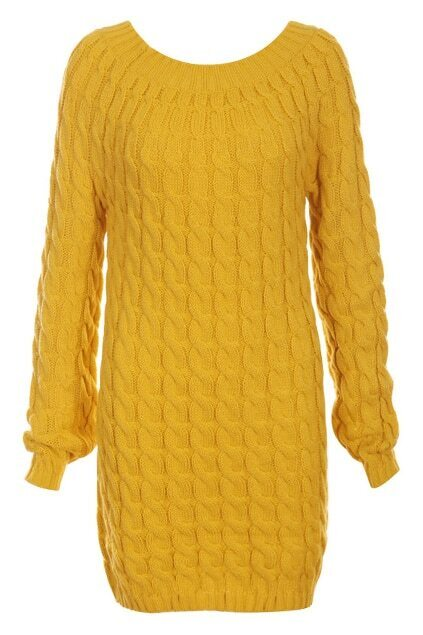 Gentiana Vertical Stripes Yellow Knitted Dress