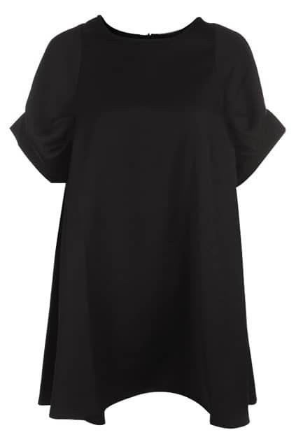 Retro Puff Sleeves Drape Black Dress