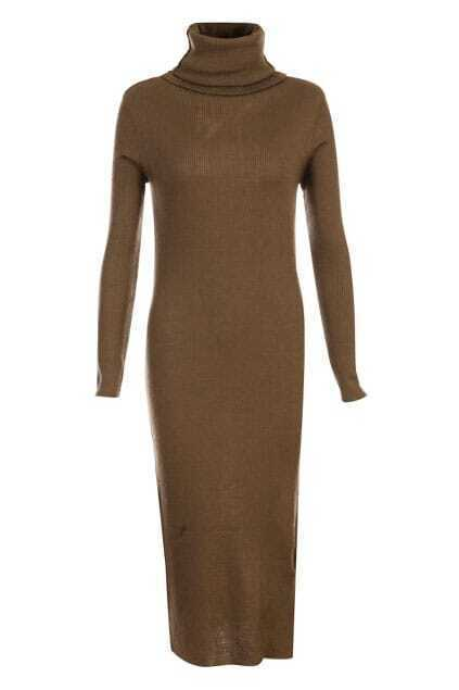Roll Neck Brown Knitted Dress