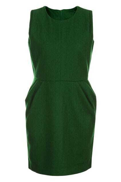 Retro Zippered Sleeveless Green Tank Dress