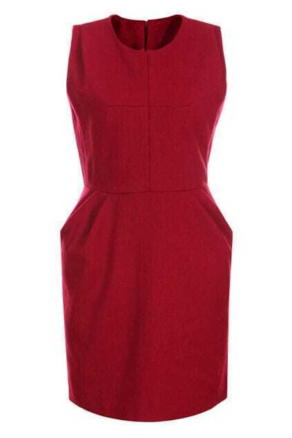 Retro Zippered Sleeveless Red Tank Dress