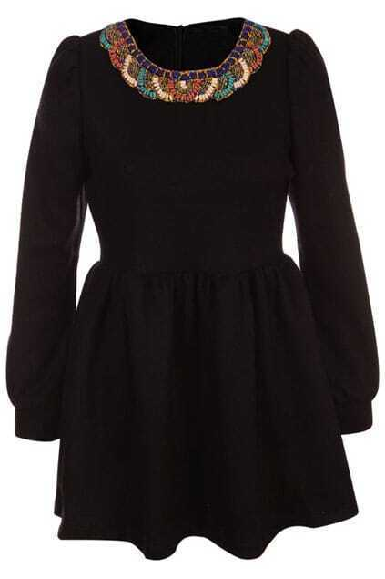 Colorful Beads Puff Sleeves Black Dress