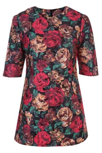 Half Sleeve Oil Paint Floral Dress