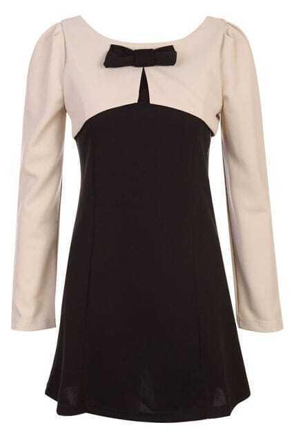 Spliced Bow Slim Nude-black Dress