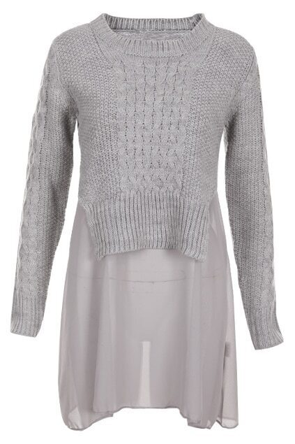 Fake Double-layers Grey Dress