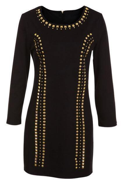 Golden Riveted Black Dress