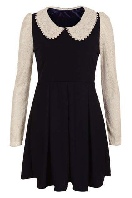 Peter Pan Collar Navy Blue Dress