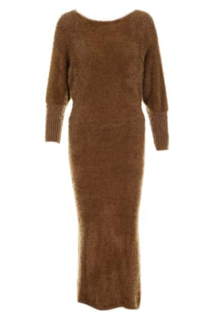 Magyar Sleeves Vent Lower Camel Dress
