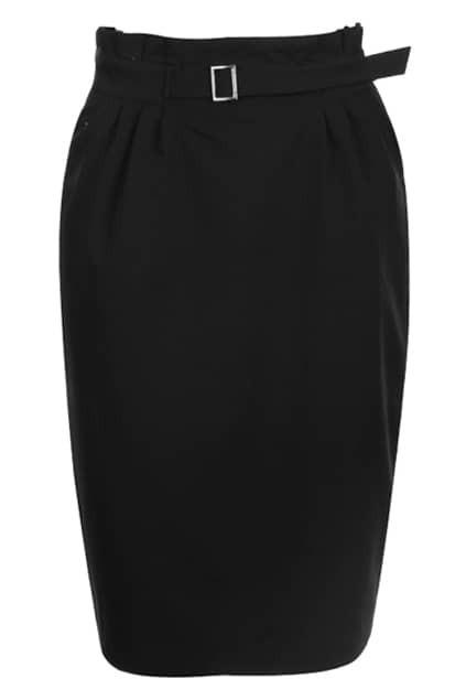 Pleat High Waist Black Skirt