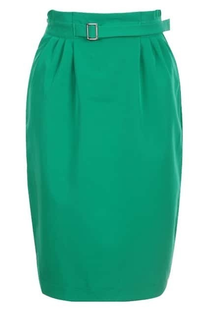 Pleat High Waist Green Skirt