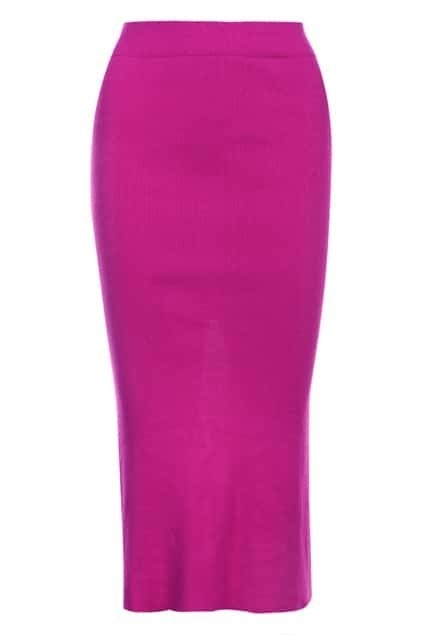 Split Reverse Rose Ribbed Skirt