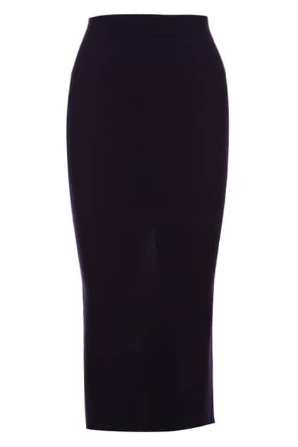 Split Reverse Navy Blue Ribbed Skirt