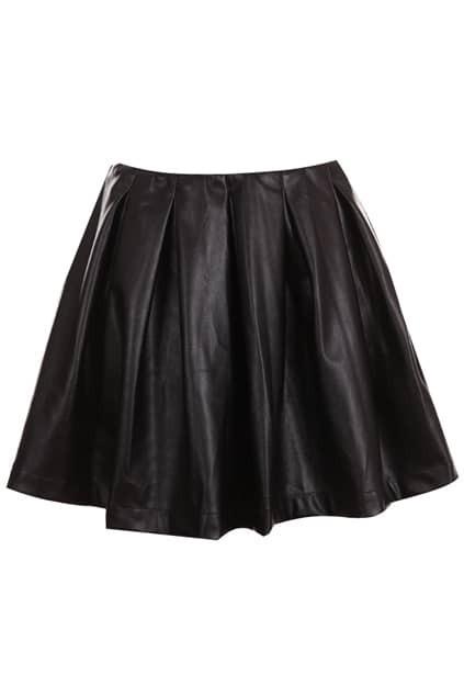 Black Pleated Bubble Skirt