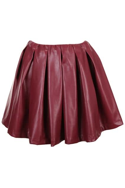 Dark Red Pleated Bubble Skirt