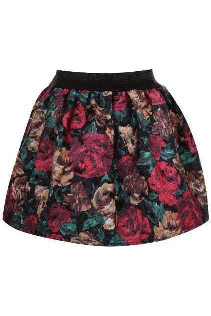 Double-layers Roses Painting Skirt