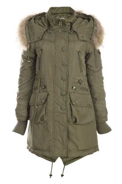 Single Breasted Army Green Coat