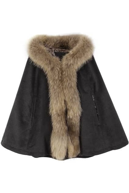 Racoon Fur Leopard Velvet Dark-grey Cape