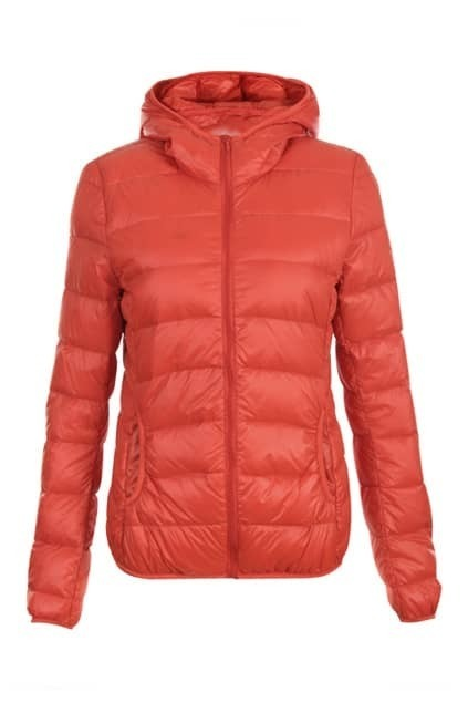 Zippered Hoodie Collar Orange Down Coats