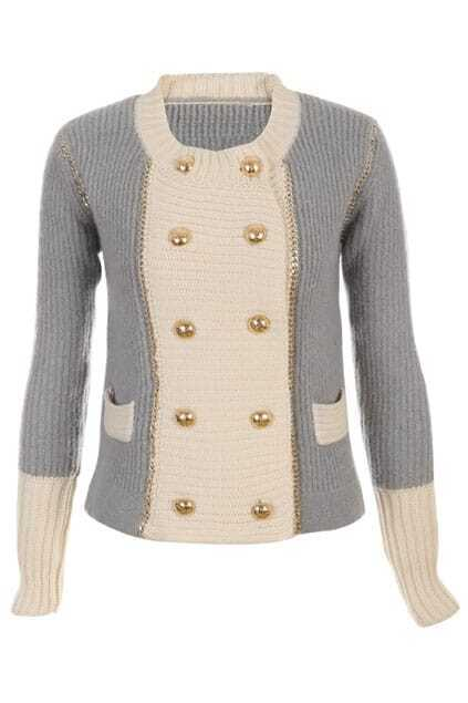 Double-breasted Golden Chain Embellished Cream-grey Coat