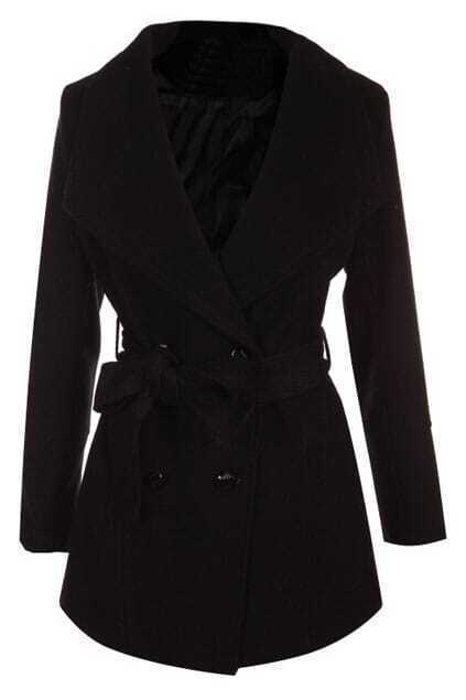 Selef-tied Double-breasted Lapel Black Woolen Coat