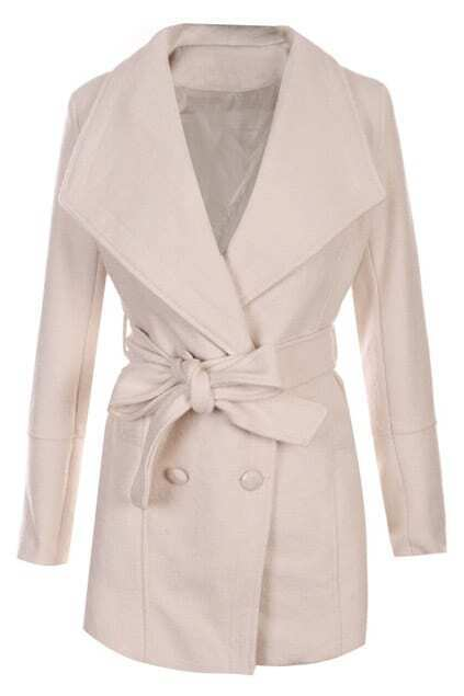 Selef-tied Double-breasted Lapel Cream Woolen Coat