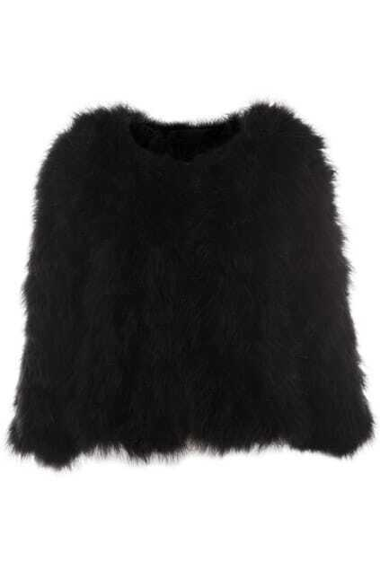 Retro Faux Fur Black Coat