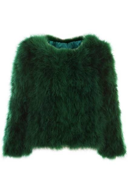 Retro Faux Fur Green Coat